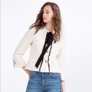 Zara White Tweed Black Bow Jacket Sz M